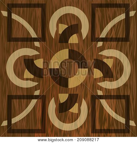 Wooden inlay, light and dark wood patterns. Veneer textured geometric ornament. Wooden art decoration template. Vector EPS 10