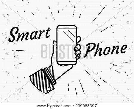 Smartphone retro illustration of vintage stylized human hand holds a smartphone. Vintage screen blank for promotion and ads with handwritten hipster typography on grunge background with sun burst rays