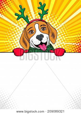 Wow pop art dog face. Funny cute surprised beagle with tongue in a sweater and deer horns aholding a banner in his hands. Vector Christmas illustration in retro comic style. New Year party invitation.