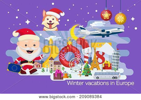 New Year and winter travel background. Christmas travel Europe winter town snow village. Traveling by plane and bus. The winter vacation. Santa Claus and the dog. Creative numbers 2018. Vector