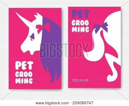 Business cards templates of grooming service pet with unicorn s head silhouette and ponytail on pink background