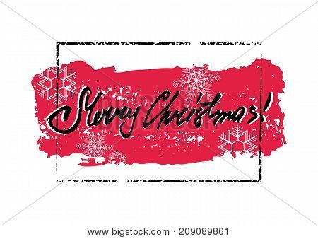 Merry Christmas winter grunge greeting card with red brush stroke with snowflakes in frame and hand written lettering inside on white background. Vector illustration