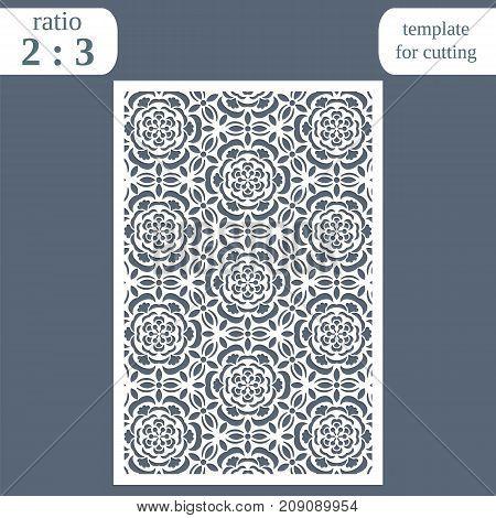Laser cut wedding card template, paper openwork greeting card, template for cutting, floral pattern, lasercut metal panel,  vector illustration