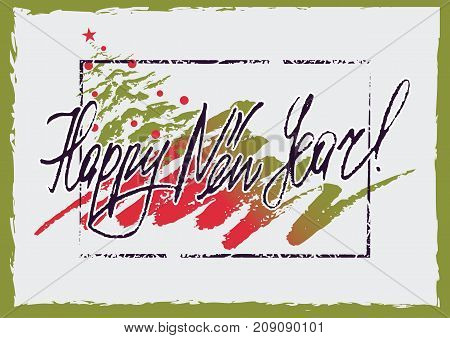 Grunge retro style greeting card with Christmas tree drawn brush stroke and hand written lettering in christmas colors. Vector illustration