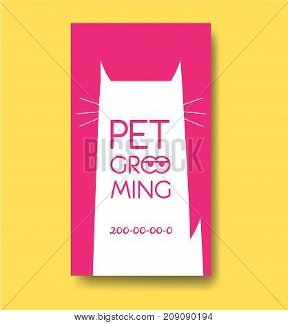 Pet grooming label and business card design template with cat silhouette. Pet care services logo. Animals hair salon logo