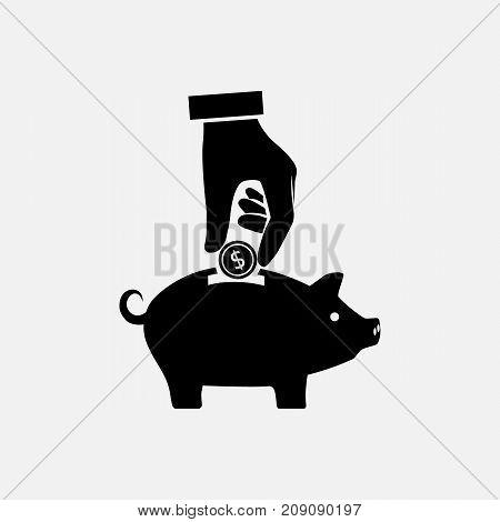Money saving concept. Hand putting coin into piggy bank. Vector illustration flat design.