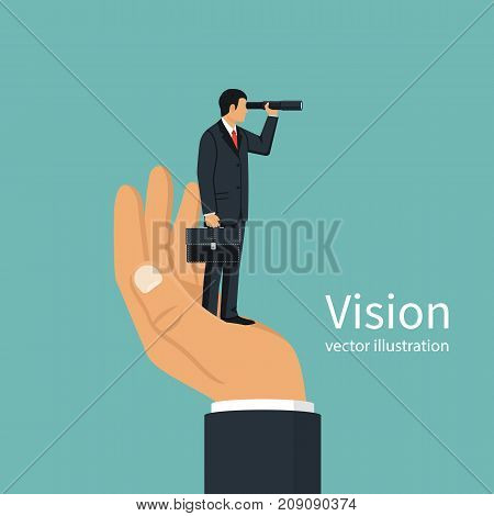 Vision business concept. Successful businessman looking in telescope, seeing future. Vector design. Isolated on background. Spyglass in hand. Search solution. Forward looking person. Miniature people.