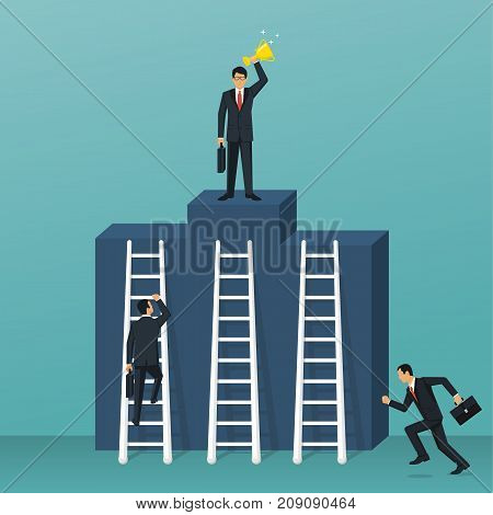 Competition for victory concept. Business people. Vector illustration flat design. Businessmen in suit climb podium as symbol competition, conflict. Way to success.