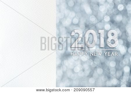 White Blank Watercolor Paper Card With Happy New Year 2018 Marble Texture (3D Rendering) At Silver B