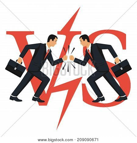 Versus concept. Vector illustration flat design. Isolated on white background. Two businessmen collided in battle. Dispute of people. Business conflict concept. VS.
