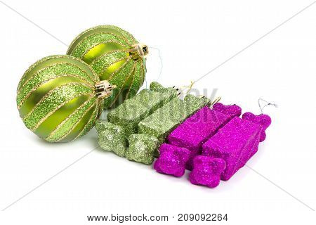 green and pink toys for holiday decoration white background