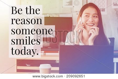 """Inspirational quote """"Be the reason someone smiles today"""" on portrait of beautiful Asian smile woman background with vintage filter. poster"""