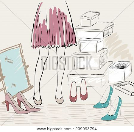 Woman shopping for fashion shoes. Hand draw illustration.