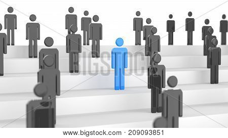 Leadership Concept, Blue And Black Mans, On White Background. 3D Rendering.