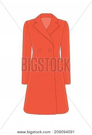 Women's coat robe. Cashmere and wool. Trendy model of women's wardrobe. Vector illustration