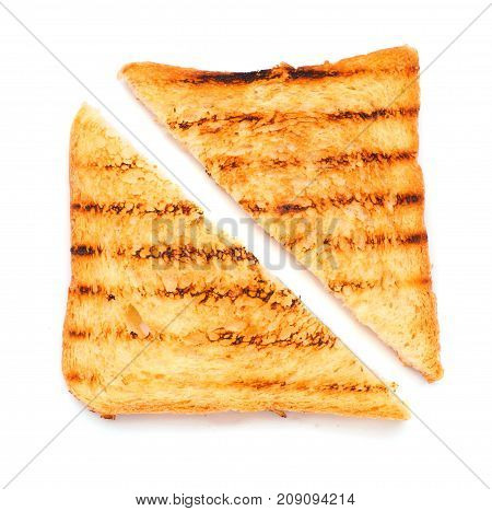Pieces Of Grilled Bread Isolated. On The White Background