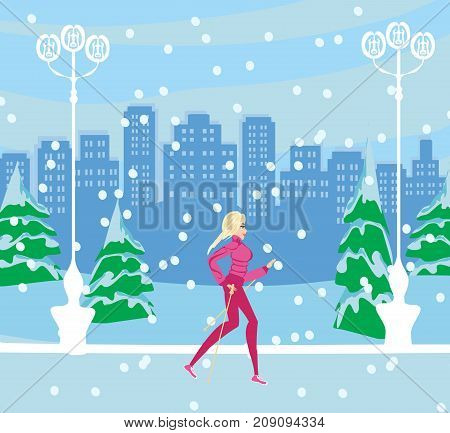 Nordic walking - active woman exercising in winter , vector illustration