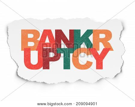 Law concept: Painted multicolor text Bankruptcy on Torn Paper background