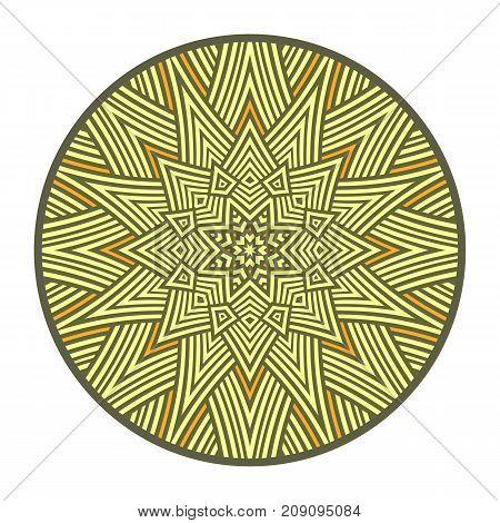 The symbol of the sun. Pagan amulet. Ethnic decorative sign as geometric mandala