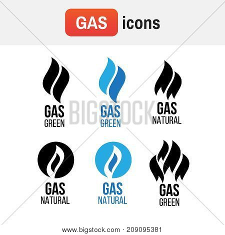 Gas Lame Logo. Gas Industry Logos, Icons Set. Energy Industry Green