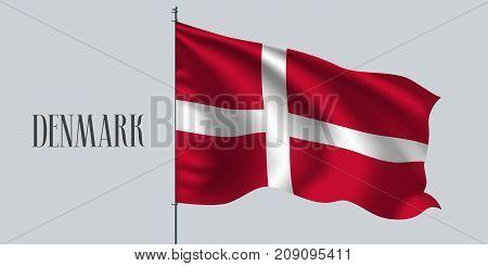 Denmark waving flag vector illustration. White red design as a national Danish symbol