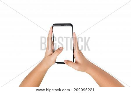 Two Hand Holding Smart Phone Blank On White Screen And White Background