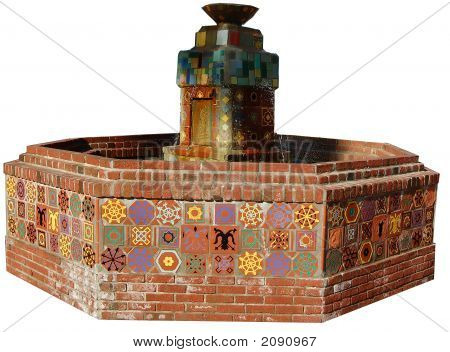 Brown Stone And Tile Water Fountain