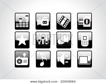 abstract beautiful web glassy icons set, black