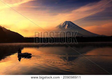 Silhouette Fishing Boat  And Mt. Fuji At Shoji Lake