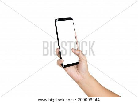 Hand Holding Cell Phone Blank On White Screen , Isolated White Background