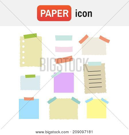 Colorful Sticky Paper Note Vector Illustration Set