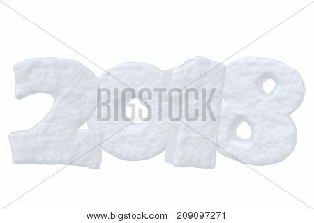New Year 2018 creative holiday background - Happy new year sign text written with numbers made of snow on the snow surface Happy New Year 2018 winter snow symbol 3d illustration isolated on white