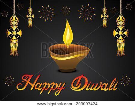 abstract artistic golden diwali background vector illustration