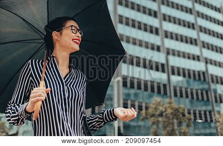 Smiling Businesswoman Outdoors With Umbrella