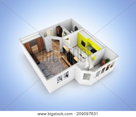Interior Apartment Roofless Perspective View Apartment Layout Without Shadow On Blue Gradient Backgr