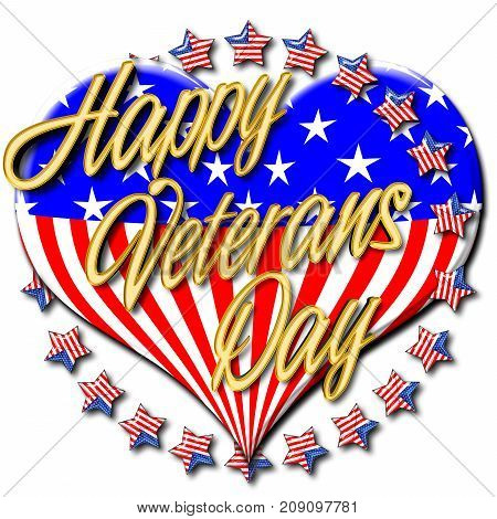 Happy Veterans Day, Golden text, 3D Illustration, Honoring all who served, American holiday template.