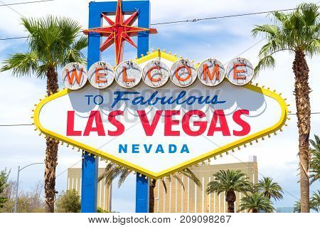 Welcome to Fabulous Las Vegas, Nevada sign with palm trees.