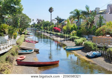 Boats in canal in Venice, Los Angeles, United States.