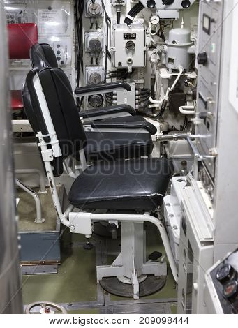 Interior Of An Old Submarine - Command Room