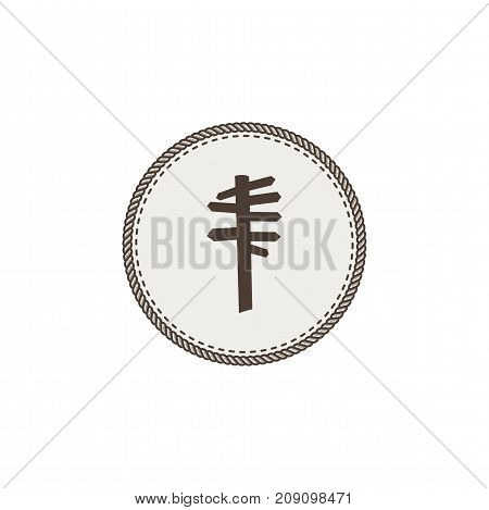 signpost icon. Vector hand drawn vintage pictogram. Stock illustration isolated on white background.