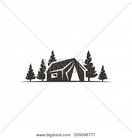 tent icon isolated on white background. Solid adventure symbol. Monochrome design. Use for logo creation. Stock vector illustration isolated on white.