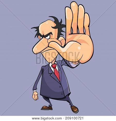 cartoon angry man in a suit with a tie getting in the way of hand