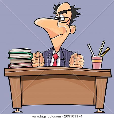 cartoon man in suit and tie is working behind a table