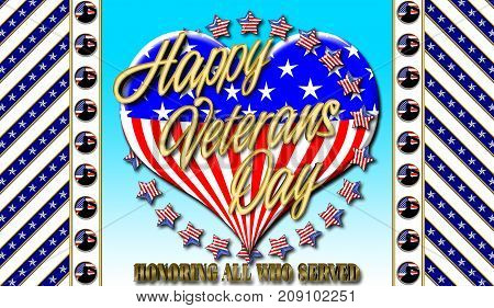 Happy Veterans Day, Heart in American colors, 3D Illustration, Honoring all who served, American holiday template.