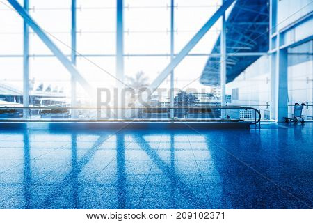 interior view of modern building,blue toned,china.
