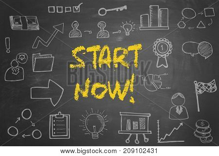 Start now! business concept on blackboard with many icons