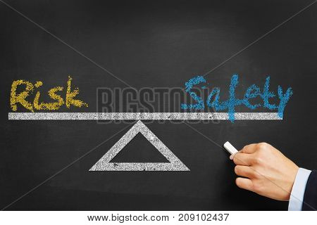 Risk and security safety equilibrium concept on blackboard