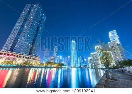 Tianjin Hai river waterfront downtown skyline,China.