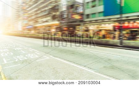 view of an urban street in central,hong kong,china.