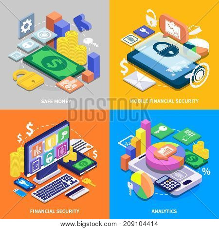 Mobile banking financial security 2x2 colorful isometric icons set 3d isolated vector illustration